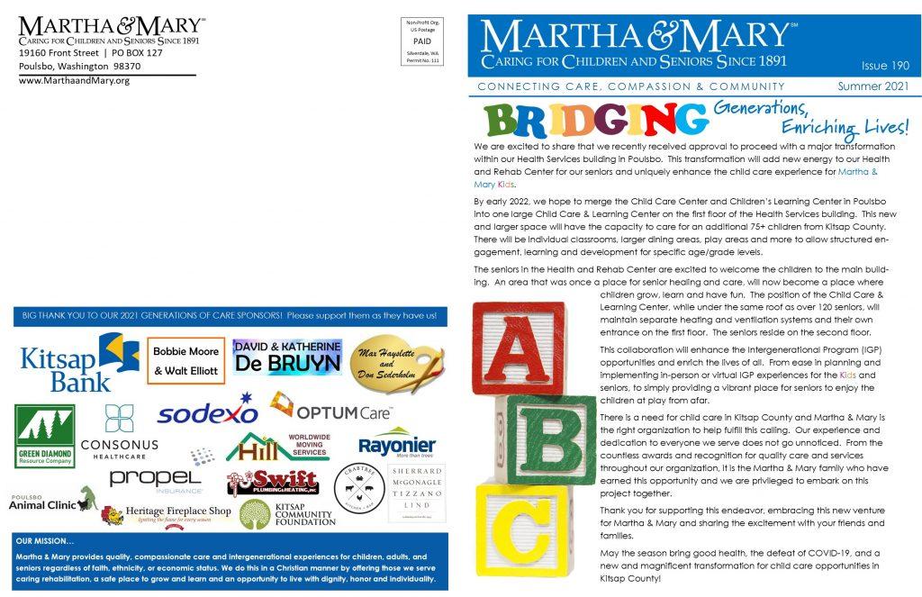 Martha & Mary Newsletter – Summer 2021